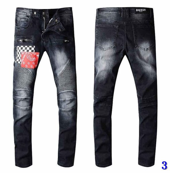 Men Designer Jeans Patches Mode Trou Washed broderie Blanchi long Distrressed Zipper Fly droite Marque Jeans3
