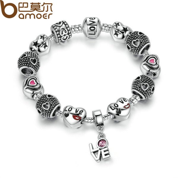 2019 Pandora Style Silver Color European Pink Charm Bracelets for Women DIY Jewelry Bracelets & Bangles Pulseras PA1488 Free Shipping