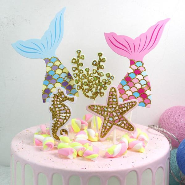 Compre Decoraciones Para Fiestas De Cumpleaños 1 Juego Tema Sirena Decoración Para Pasteles Fiesta De Bienvenida Al Bebé Decoraciones Para Fiestas