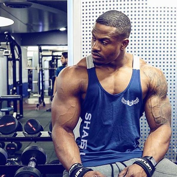 Neue Sleeveless Gym Workout T-Shirt Laufweste Männer Quick Dry Fitness Stringer T-Shirt Herren Bodybuilding Tank Top Sport Weste Kleidung