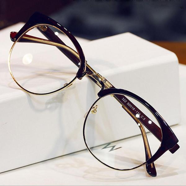 New Fashion Metal Half Frame Glasses Frame Woman Men Reading Glass Retro Clear Lens Computer Eyeglass