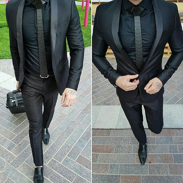 Black Shawl Lapel Men Suits for Wedding Man Business Suits One Button Groom Tuxedos 2Piece (Coat+Pants) Slim Fit Costume Homme Prom Party