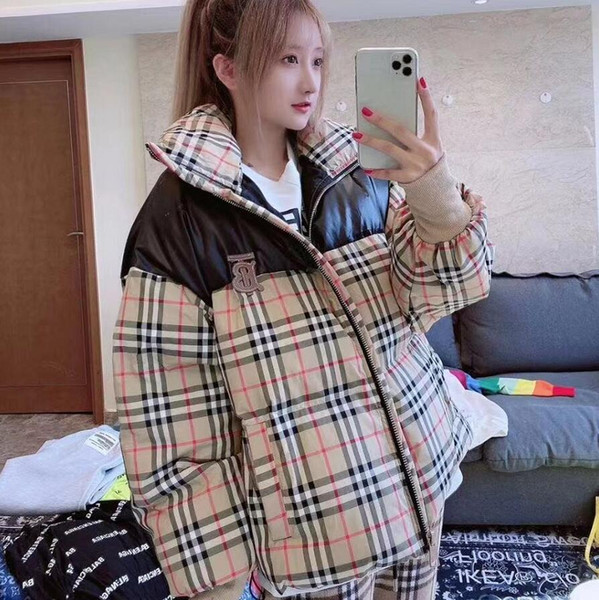 Winter Design Plaid Patchwork Cotton-Padded Jacket Web Celebrity Same Style Bread Suit Thick Men And Women With The Same Coat