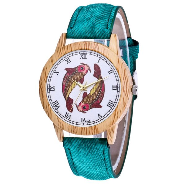 Two Fishes Simple Pattern Luxury Fashion Denimr Strap Cheap Women Quartz Watch Women Valentine Gifts 2018 Montre Sport Bracelet