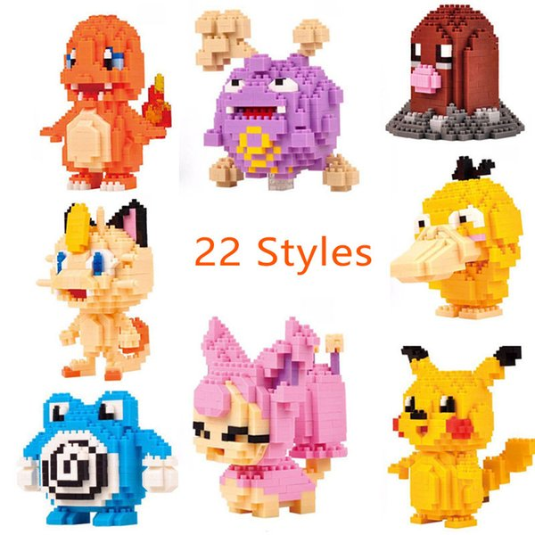 top popular 22 Style Creative Building Blocks Toys Pikachu Penguin Small Particles Diamond DIY Block Puzzle Game Assemblage Cartoon Modelling Bricks Toy 2019