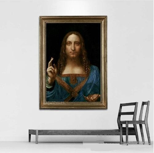 Leonardo Da Vinci Salvator Mundi High Quality Hand Painted /HD Print Wall Art painting Home Decor On Canvas Multi sizes /Frame Options 178