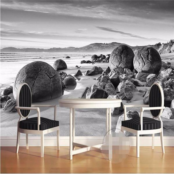 Compre Parede Foto Personalizado Mural 3d Wallpaper Luxo Qualidade Hd Imagem Preto E Branco De Rock Costeira Arte Clássica 3d Grande Papel De Parede