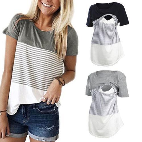 Frauen Kurzes Sleeveless Beiläufiges T-shirt Stillen Stillen Kleidung Fütterung Sommer Für Schwangere Tragen Patchwork Tops