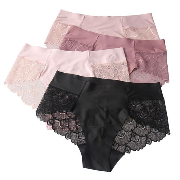 Culottes Sexy en dentelle Slips sans couture Femmes Sous-vêtements Soie Lingerie Dames Culottes Transparentes Jolies Briefs