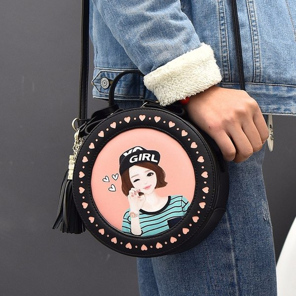 Women Leather Shoulder Messenger Bags Cut Models Famous Cartoon Round Style Fashion 2019 Popular Crossbody Tassel Hot Sale 881