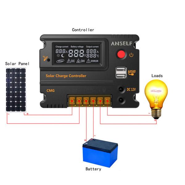 شاحن للطاقة الشمسية لوحة تحكم مصباح بطارية منظم USB 20A / 12V / 24V LCD