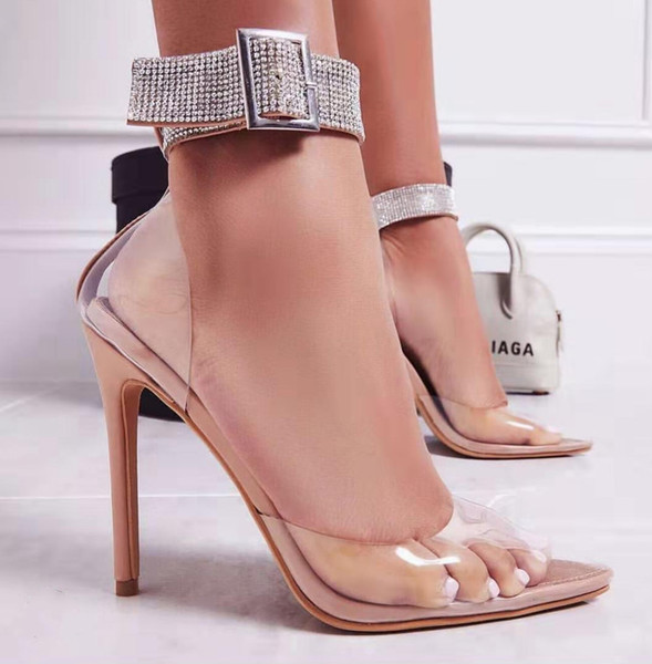 top popular Plus Size 35 To 40 41 42 Sexy Designer Heels Nude Rhinestone Ankle Strappy Clear Stiletto Heels 2020