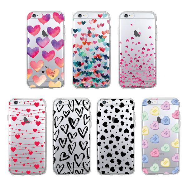 Love Heart filles mobiles téléphone couverture pour iPhone XR XS MAX X 8 7 6 6S plus Samsung Galaxy S10 S9 S8