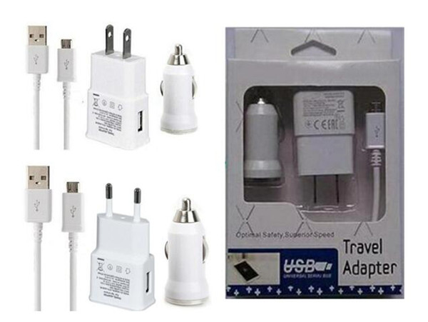 3 in 1 US EU 5V 2A wall charger adapter+ bullet car charger + 1m micro usb cable with retail Package for samsung S4 S5 S6