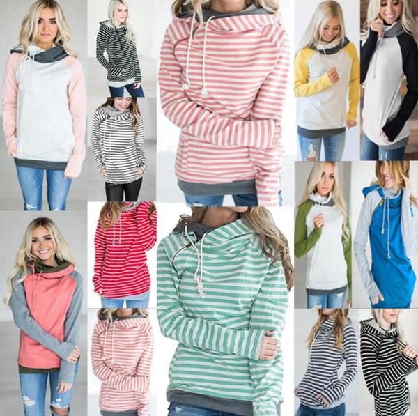 Fashion Women Long Sleeve Striped Patchwork Hooded Sweatshirt Autumn Hoodie Top