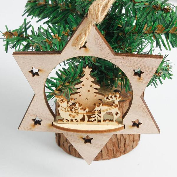 3D copo de nieve adornos de madera rústica Feliz árbol de navidad ornamento colgante colgante de Navidad Decoraciones para el hogar