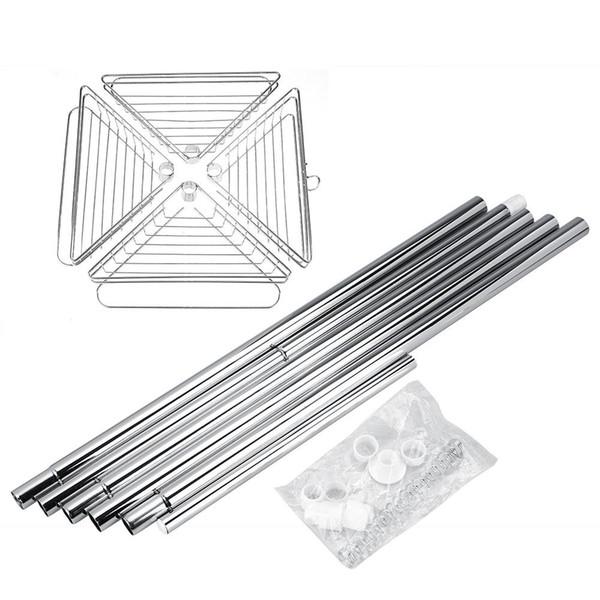 Bathroom Shower Corner Metal Tension Pole Adjustable Large Capacity 4 Baskets Storage Rack