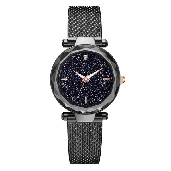 Ladies Magnetic Watch Women Bracelet Watches Simple Cool Fashion Without Digital Star Sky Dial Ladie Mesh With Quartz Watch
