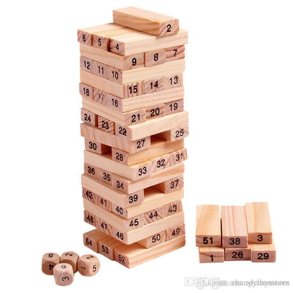 Wholesale- Wood Building Figure Blocks Domino 54pcs Stacker Extract Jenga Game Gift 4pcs Dice Kids Early Educational Wooden Toys Set ZS041