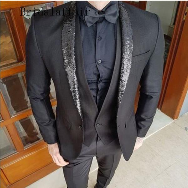 Abiti da uomo new fashion 3 pezzi slim fit scialle paillettes blazer smoking dello sposo per abiti da sposo da sposo abiti da sposa (giacca + pantaloni + gilet)