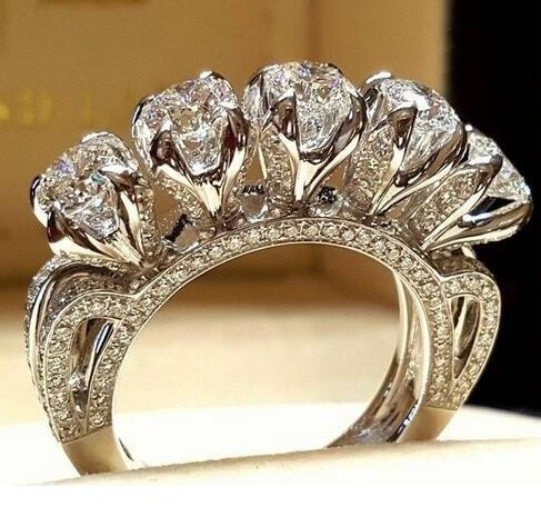 Luxury Big Crystal White Geometric Stone Ring Female 925 Silver Engagement Ring Vintage Party Wedding Rings For Women