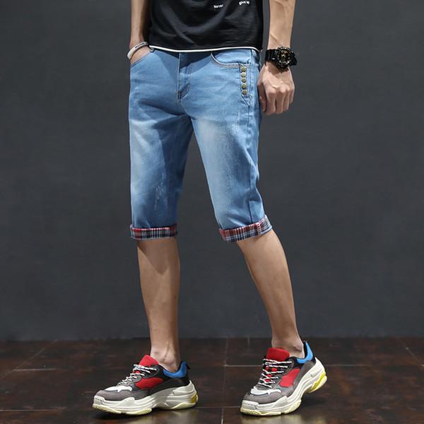Heißer Verkauf 2019 Sommer Neue Beiläufige feste Dünne Baumwollshorts Männer Jeans Blaue Shorts mode Männlichen Denim Marke Kleidung Plus Größe 36