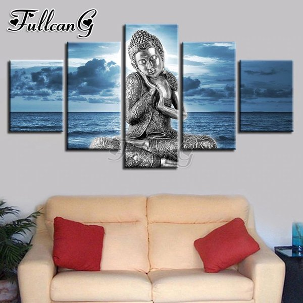 wholesale 5 piece diy 5d diamond painting buddha statue & blue sea full square/round drill mosaic embroidery picture decor FC836