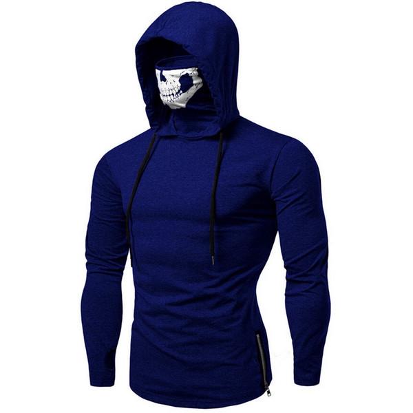 ISHOWTIENDA 2019 Neue Mode Herren Maske Schädel Reine Farbe Pullover Langarm Mit Kapuze Sweatshirt Tops Bluse Heißer Verkauf Sweatshirt