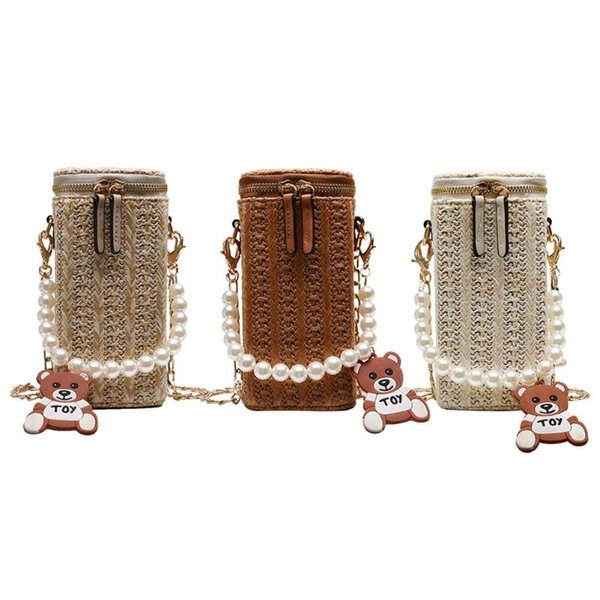 Pearls Shoulder Messenger Bucket Handbags for Women Straw Woven Small Chain Crossbody Top-handle Bags 2019 Hot Selling