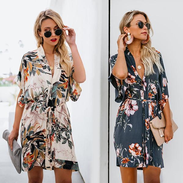 Vestidos de moda das mulheres novo verão com painéis vestido com padrão de impressão floral para as mulheres soltas casuais com decote em v sexy lady s clothing s-xl