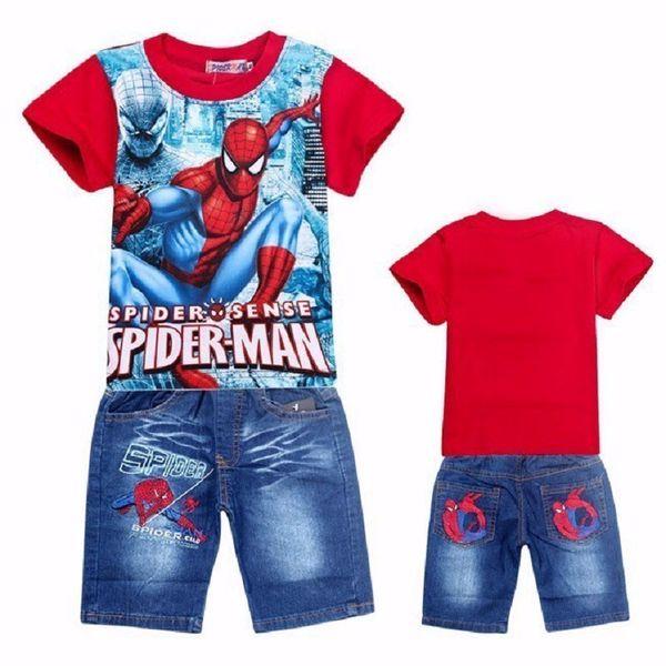 Spiderman Children Clothing Set For Kids Cartoon Baby Jeans Suit Retail Boys Short Sleeve T Shirt Pants Boy Clothes Y190518