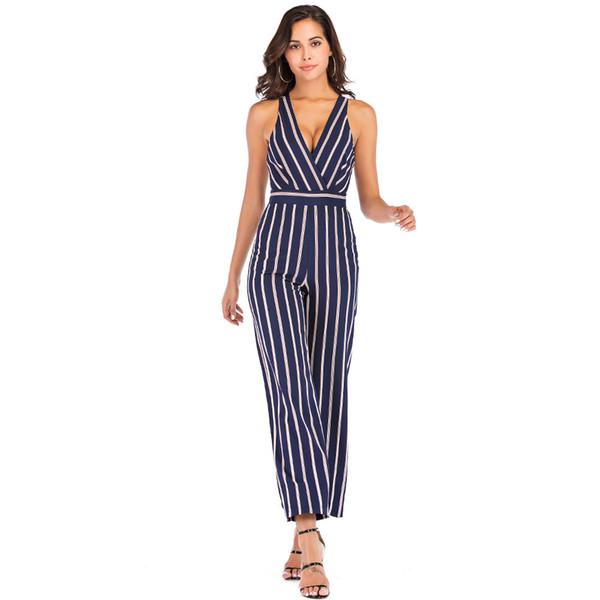 Sexy V Neck Backless Women Jumpsuit Elegant Sleeveless Wide Leg Pants Striped Print Jumpsuit Women Casual Outwear Slim Overalls