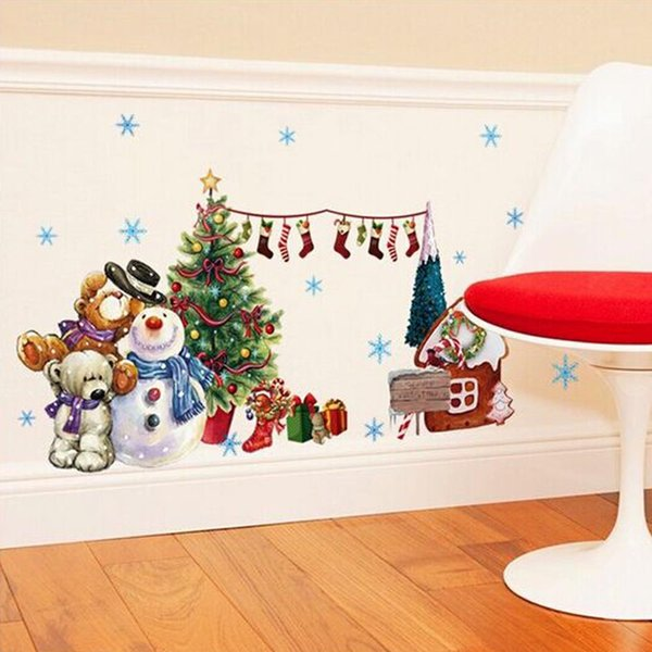 Merry Christmas Wall Stickers Decoration Gifts Tree Window Wall Stickers Removable Vinyl Wall Decals Xmas Decor