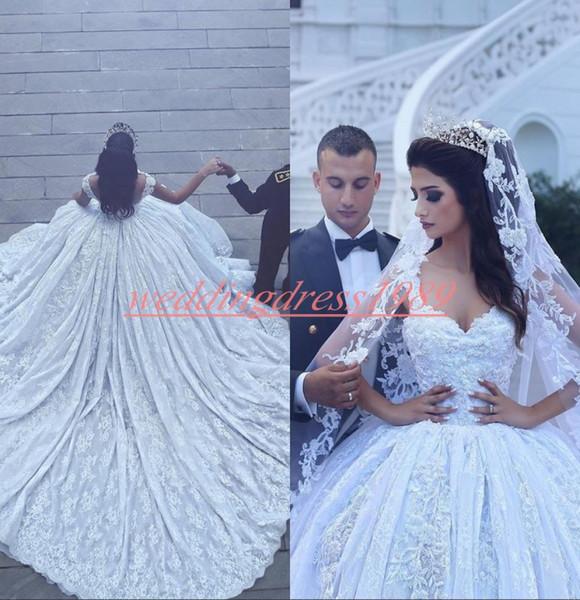 Glamorous Straps Lace Said Mhamad Wedding Dresses Dubai Long Train Country Arabic Bridal Gown Formal Plus Size Vestido de novia Bride Ball