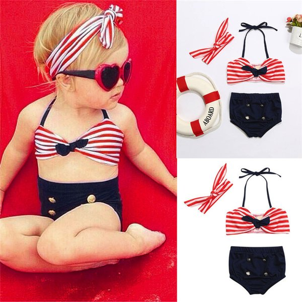3Pcs Baby Girl Swimwear Infant Kids Baby Girls Straps Bow Tops+Button Shorts+Headband Swimwear Beach Swimsuit Bathing Set M8Y17