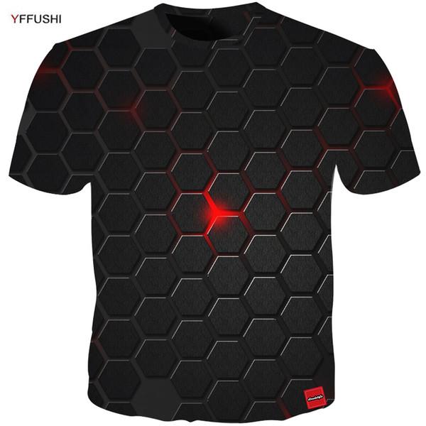 Yffushi 2018 Plus Size 5xl Hombre 3d Camiseta de moda Camiseta de verano Top Dress Cool Plaid Diamond 3D Hip Hop Camisetas Moda Q190425