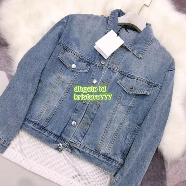 2019 Mujeres Outwear Chaquetas de mezclilla con malla de paneles Carta de impresión de manga larga La gama alta personalizada Tops Tops Active Casual chaqueta