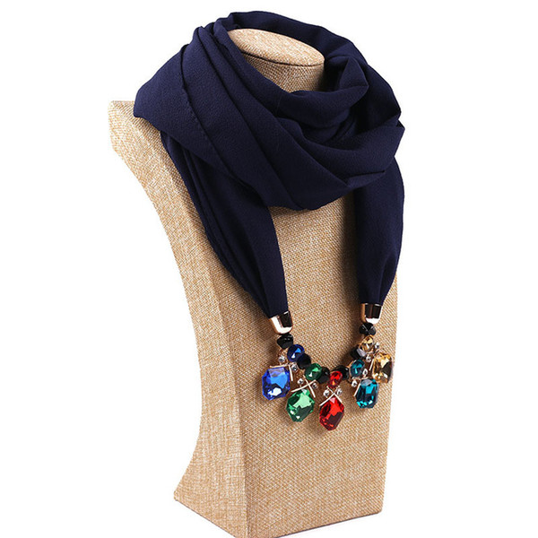 women luxury Scarf Necklace Pendant Neckerchief Scarves Women Muffler Scarf Shawl Wrap solid color