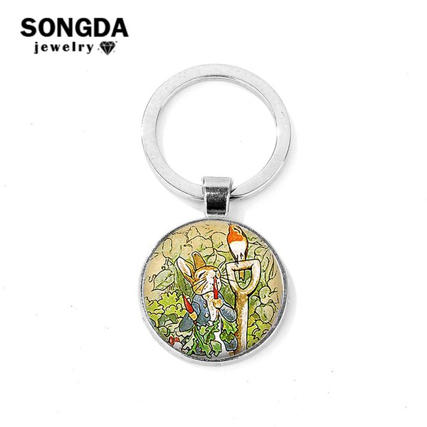 SONGDA Vintage Peter Theme Keychain Helen Beatrix Potter Cartoon Fun Impreso Glass Dome Key Ring Gift para niñas niños