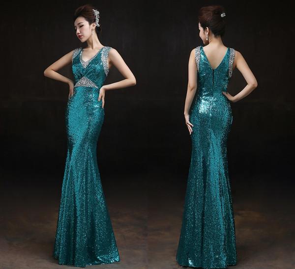 Shoulder Fish Tail Sequins Evening Dresses Bride V-Neck Prom Dresses Long Slim Dance Party Dinner Prom Gowns DH1835