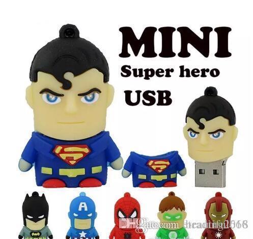 Design Cartoon pendrive u disk America Captain Superman Spiderman Batman pen drive Super hero 2GB 4GB 8GB 16GB USB Flash Drive