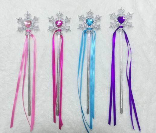 DHL Fairy Wand Ribbons Streamers Christmas Wedding Party Snowflake Gem Sticks Magic Wands Party Props Decoration Events Favors for girl