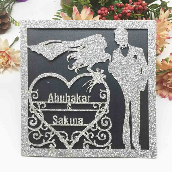 Hollow Laser Cut Personal Tailor Name Wedding Invitation Cards Decoration With Glitter Paper Anniversary Invitations Card Wedding Invitation Design
