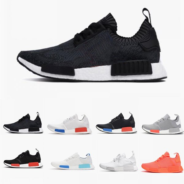 Whosale NMD R1 chaussures Mesh Triple Noir Blanc Crème Tri-Color Camo Oreo Hommes Femmes Chaussures Original NMD Primeknit Chaussures taille 36-45