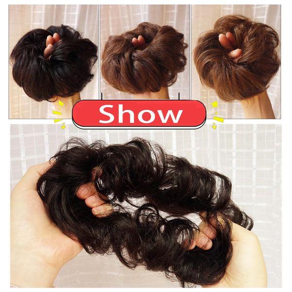 Clip en la extensión del moño del buñuelo del buñuelo de la extensión del marrón oscuro del pelo humano Updo Pedazo del pelo para las mujeres Gril Lady