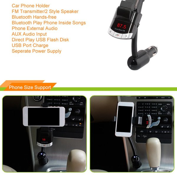 Car MP3 Player LED Screen Wireless FM Transmitter with Smartphone Holder with Bluetooth Car Audio & Monitor MP3 Player