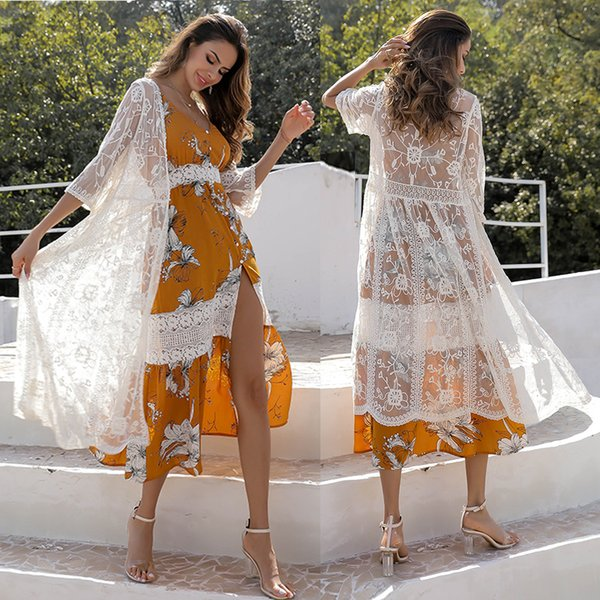 elegant crocheted lace floral embroidered cardigan vestidos free shipping coverup Beach cover up Summer dress resort wear