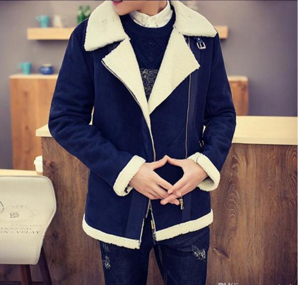 Оптовая бесплатная доставка осень-барашек зимнее пальто из искусственного меха замша куртка Sid Zip ягненка шерсть мужская овчина пальто