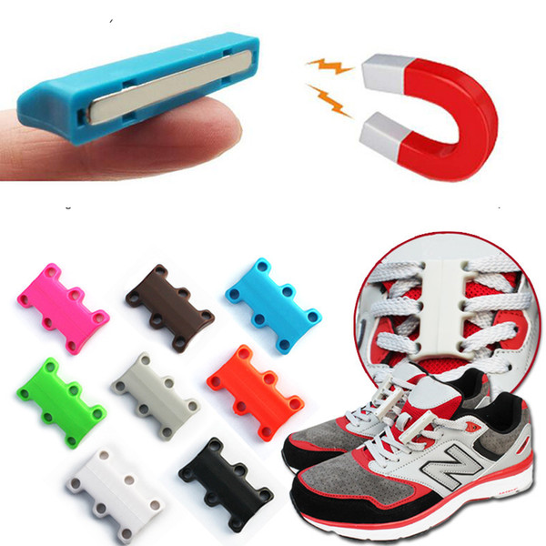 1 Pair Strong Magnetic Shoelace Buckle No Tie Shoes Lace For Sneakers Sports Vulcanized Shoes Men Women Kids Lazy Closures Lace