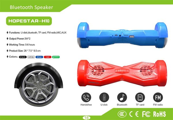 Toptan-HOPESTAR H10 Benzersiz Elektrikli Araba Dengesi Segway Kendini Denge Scooter Tasarım Taşınabilir Kablosuz Bluetooth Hoparlör ...